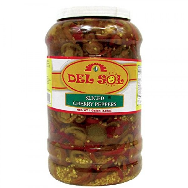 Del Sol 1 Gallon Sliced Cherry Peppers - 4/Case By TableTop King