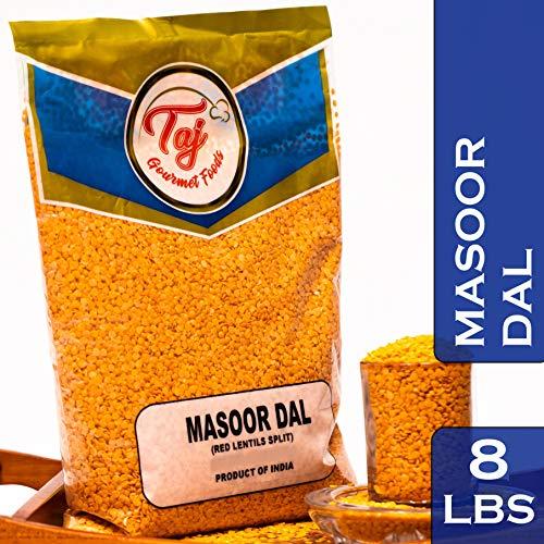TAJ Premium Indian Masoor Dal, Red Lentils 8-Pounds