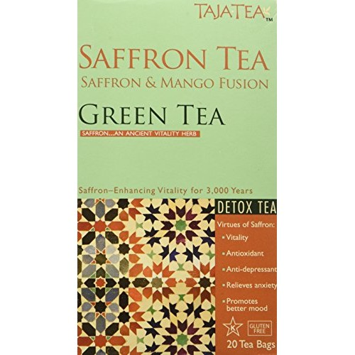 Taja Tea Saffron and Mango Detox Green Tea, 20 Bags