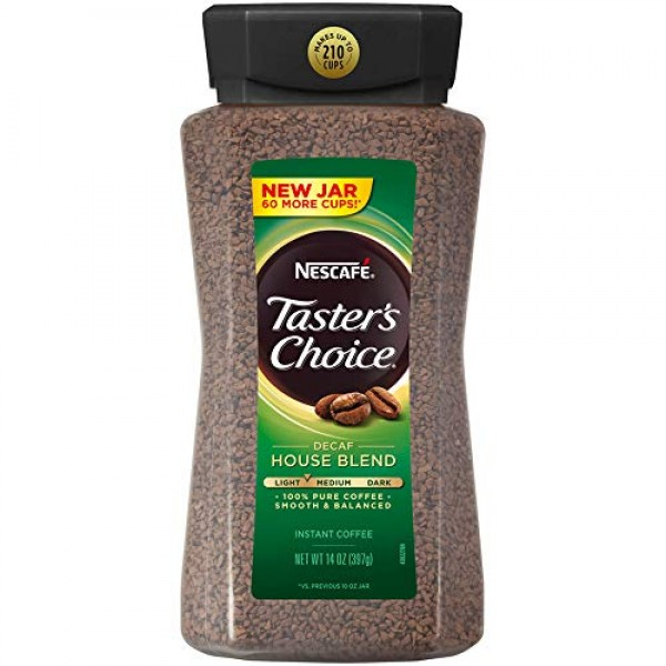 Nescafe Tasters Choice Instant Coffee, Decaffeinated, House Ble...