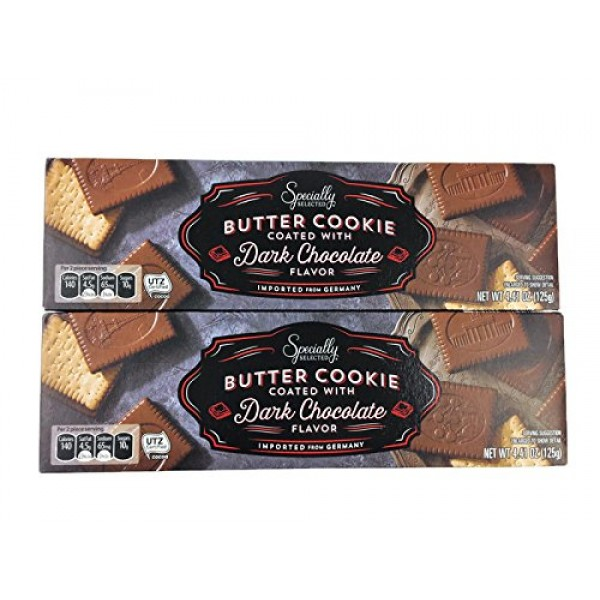 German Dark Chocolate Covered Butter Cookies - 4.4-Ounce Boxes ...