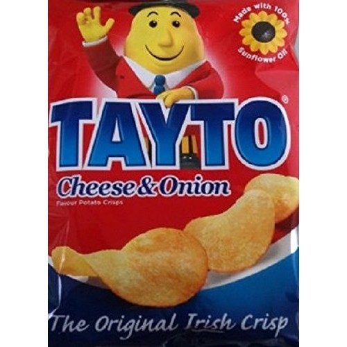 Tayto Cheese and Onion flavour crisps from Ireland 24x25g Packs