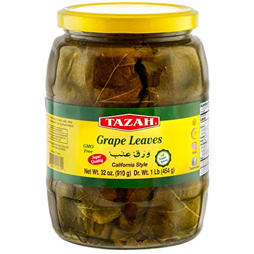 Tazah Premium Grape Leaves California Style 16 Ounce Glass Jar