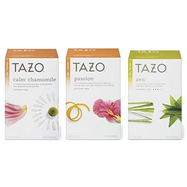 Tazo Assorted Tea Sampler 20ct Calm Chamomile, Passion, Zen Gree...