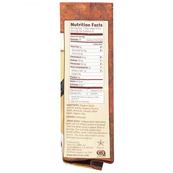 Teeccino Chicory Coffee Alternative - Java - Herbal Coffee   Gro...