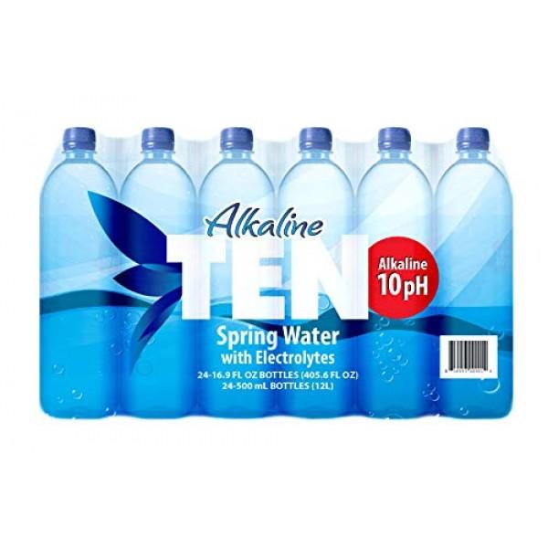 TEN Alkaline Spring Water, pH 10, High in Electrolytes, 16.9 Oun...