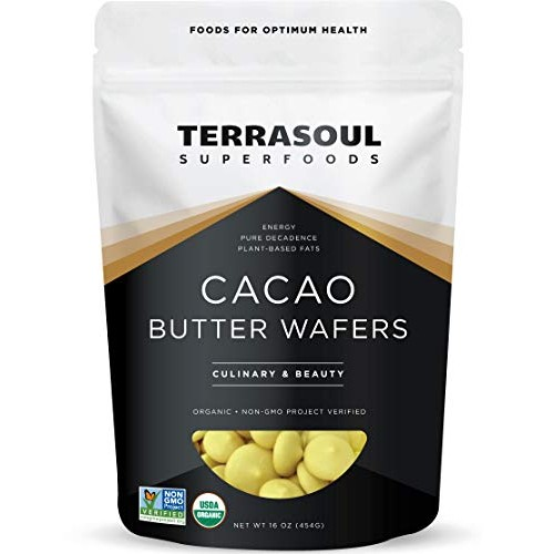 Terrasoul Superfoods Organic Cacao Butter Wafers, 1 Lb - Raw | K...