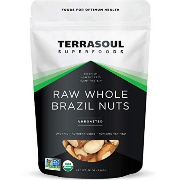 Terrasoul Superfoods Organic Brazil Nuts, 1 Lb - Raw | Unsalted ...