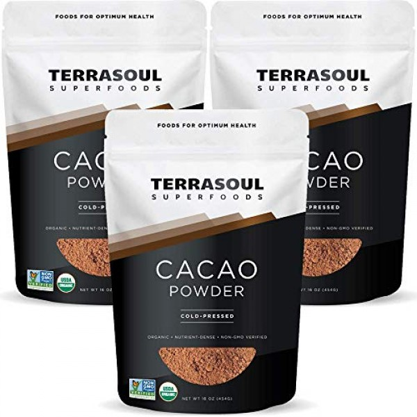 Terrasoul Superfoods Organic Cacao Powder, 3 Lbs 3 Pack - Raw ...