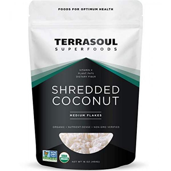 Terrasoul Superfoods Organic Coconut Flakes, 1 Lb - Medium Flake...