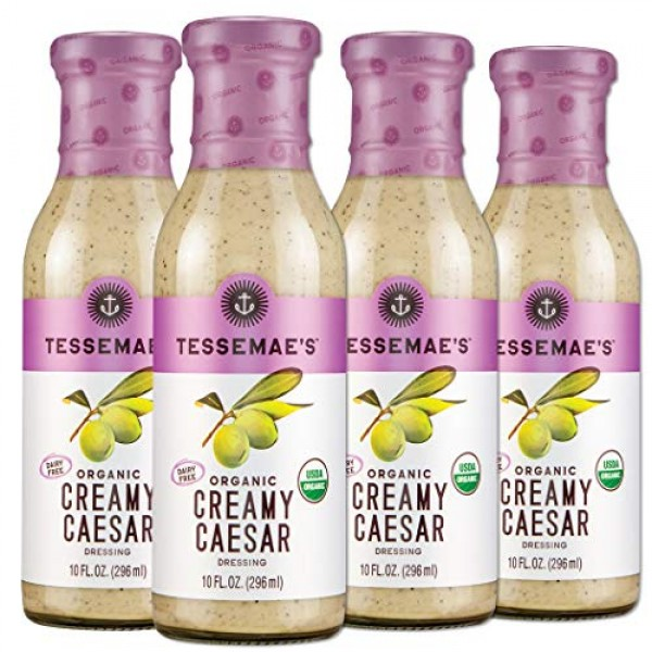 Tessemaes Organic Creamy Caesar Dressing, Whole30 Certified, Ke...