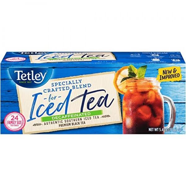 Tetley Black Tea, Decaffeinated Iced Tea Blend, Family Size, 24 ...