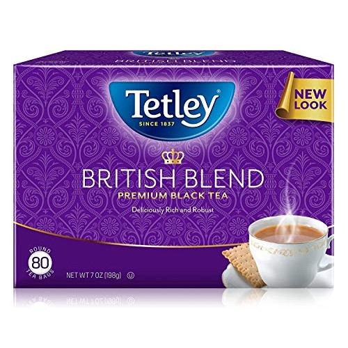Tetley Premium Black Tea, British Blend, 80 Tea Bags Pack of 6