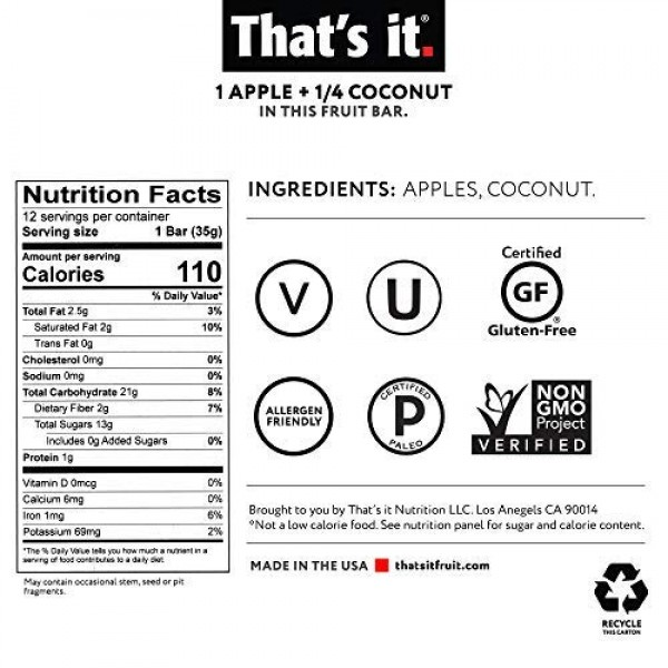 Thats it Apple + Coconut 100% Natural Real Fruit Bar, Best High...