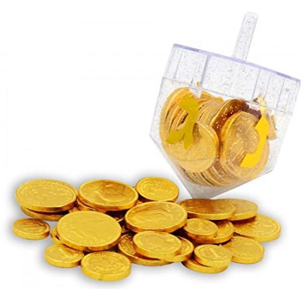 Dreidel Filled with Hanukkah Chocolate Gelt Coins - Belgian Choc...