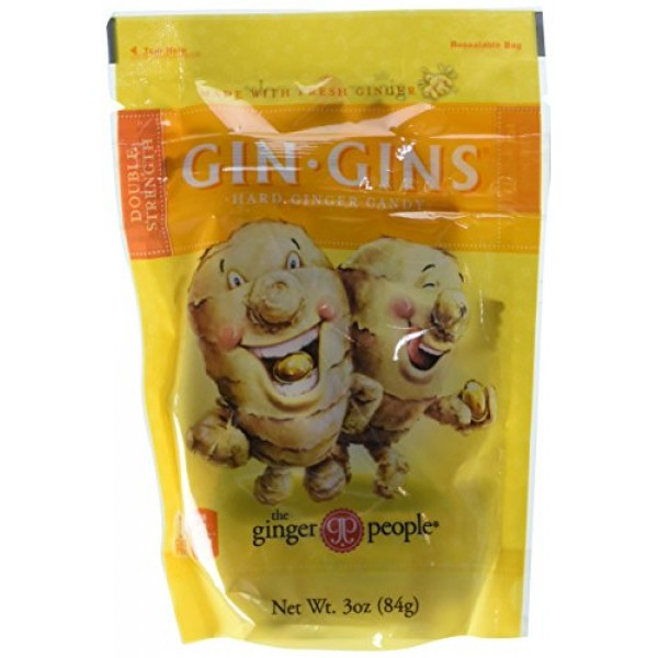 Gin Gins Double Strength Hard Ginger Candy, 3 oz, 6PK