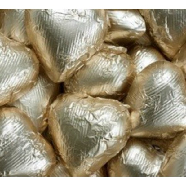 Gold Foiled Milk Chocolate Hearts 5LB Bag five pound