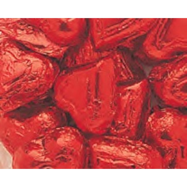 Red Foiled Milk Chocolate Hearts 5LB Bag