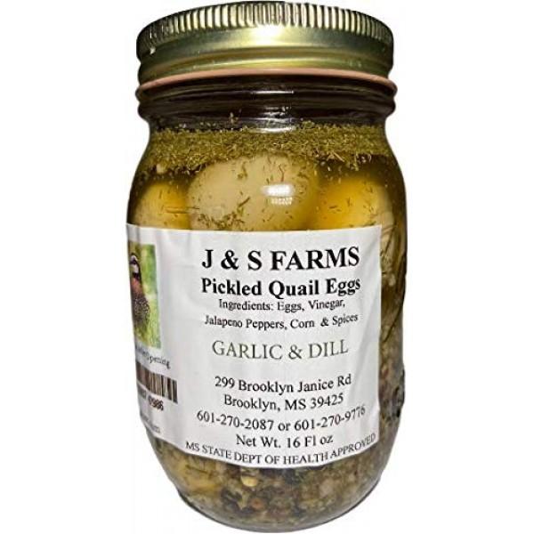 J&S Farms Garlic & Dill Pickled Quail Eggs - 2 pint jars