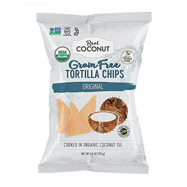 Real Coconut Grain Free Coconut Flour Tortilla Chips, Original, ...