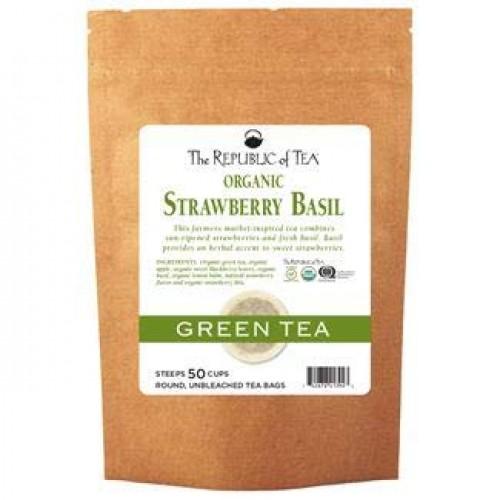 The Republic Of Tea Organic Strawberry Basil Green Tea, 50 Tea B...