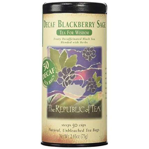 The Republic of Tea Decaf Blackberry Sage Black Tea, 50 Tea Bags...