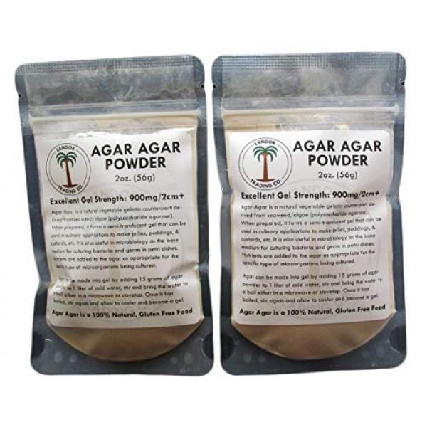 Agar Agar Powder 2 Ounces 2 pack - Excellent Gel Strength