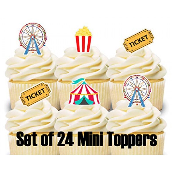 24 Mini Cupcake Toppers Carnival Circus/Birthday Party/Cake Deco...