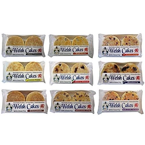 Welsh Baker Welsh Cakes - 9 Flavor / 12 Package Variety Box - 48...