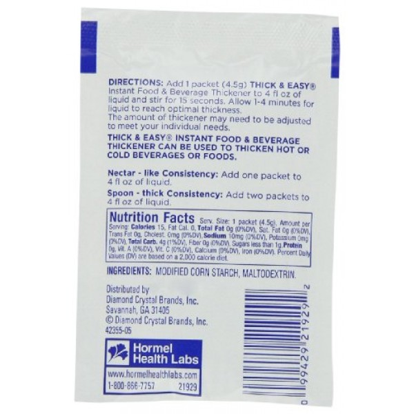 Hormel Thick & Easy Instant Food Thickener, Nectar Consistency, ...