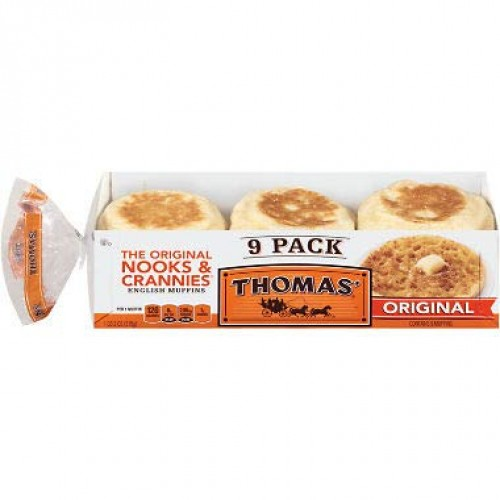 Thomas Original English Muffins 18 oz. each, 9 pk. A1
