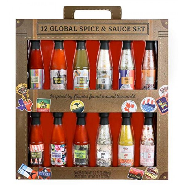 Thoughtfully Gifts, Global Spice and Sauce Set, Includes a Varie...