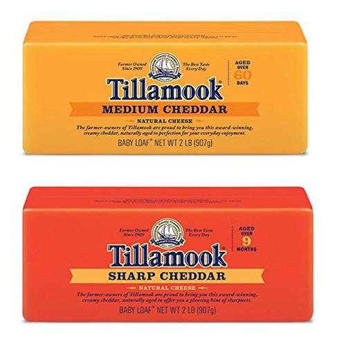 Tillamook Medium Cheddar Cheese & Sharp Cheddar Cheese Bundle of...