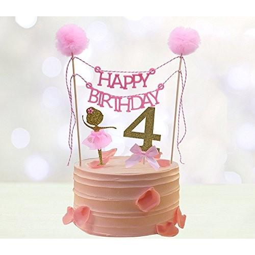 Fourth Birthday Cake Toppers, HAPPY BIRTHDAY Cake Bunting Topp...