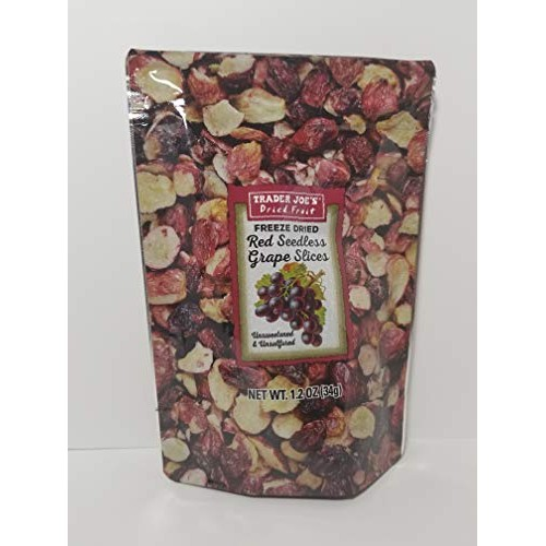 Trader Joes - Freeze Dried Red Seedless Grape Slices 1.2 Oz 34g