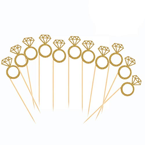 50 Pack Cupcake Toppers Gold Glitter Mini Diamond Ring Cakes Top...