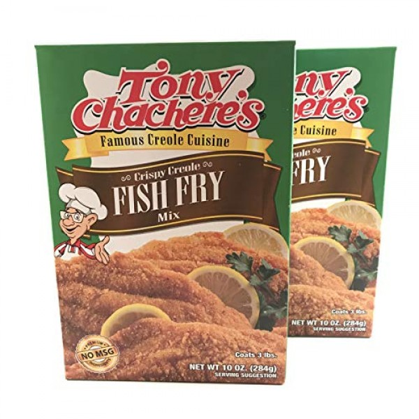 Tony Chacheres Crispy Creole Fish Fry Mix, 10 Ounce Pack of 2