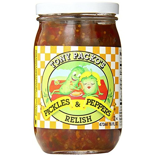 Tony Packos Pickle and Pepper Relish, 16 Ounce -- 12 per case.