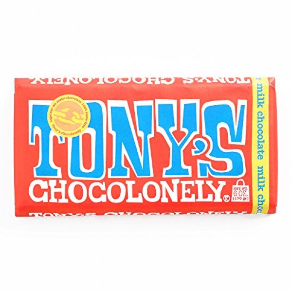 Tonys Chocolonely Milk Chocolate Bar 6 oz - Pack of 3 - Slave-F...
