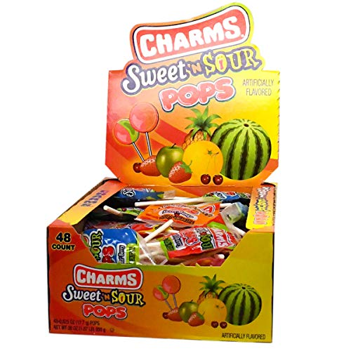 Charms Sweet and Sour Pops, in 5 Assorted Sweet/Sour Flavors, 48...