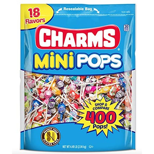 Charms Mini Pops 18 AssortedLollipopFlavors with Re-sealableC...