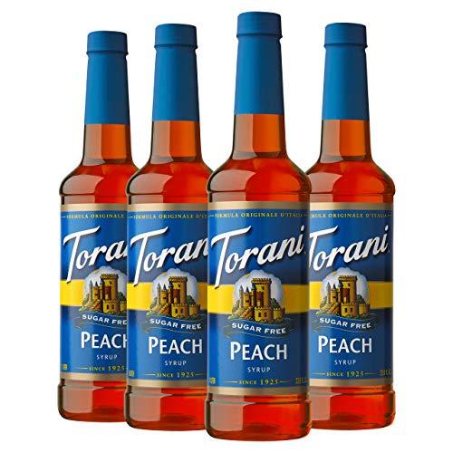 Torani Sugar Free Syrup, Peach, 25.4 Ounces Pack of 4