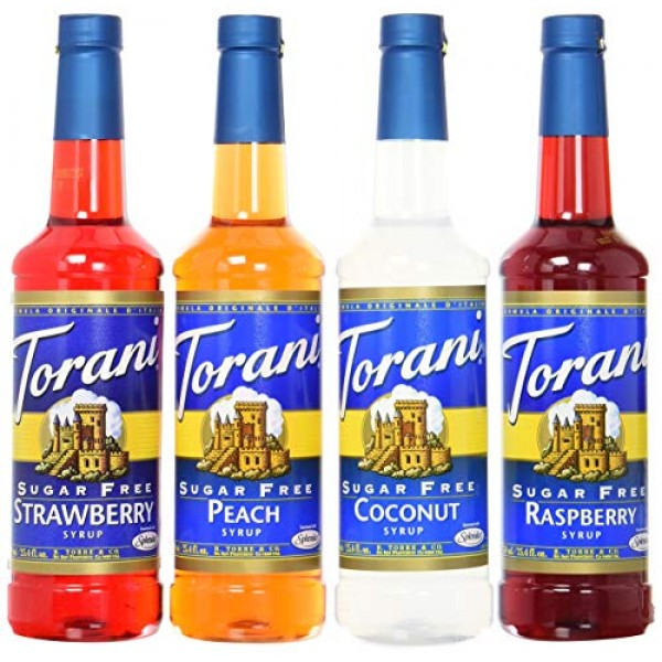 Torani Sugar Free Syrup Soda Flavors Variety Pack, 25.4 Ounces ...