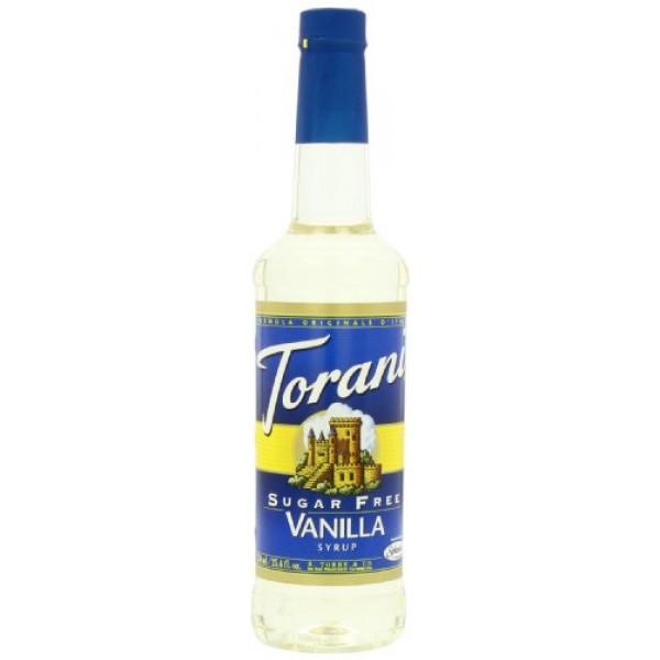 Torani Sugar-Free Syrup, Vanilla, 25.4-Ounce PET Bottles Pack o...
