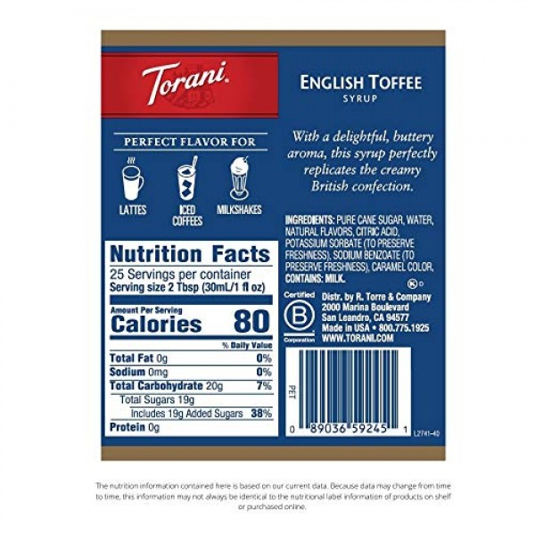 Torani Syrup, English Toffee, 25.4 Ounce Pack of 4