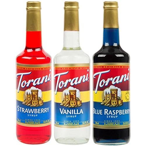 Torani Syrup Patriotic Flavor 3 Pack, Strawberry Red, Vanilla ...