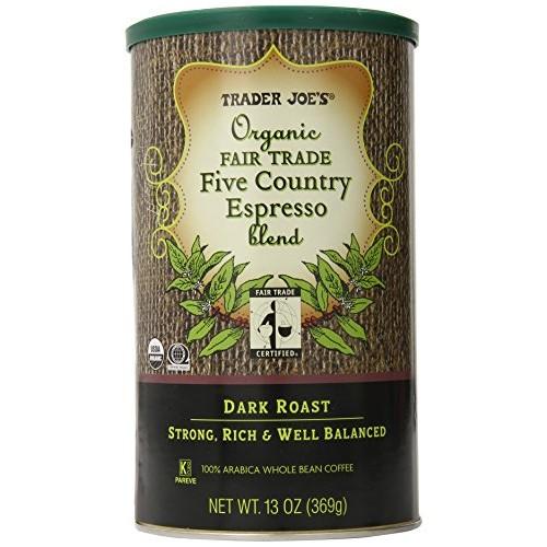 TRADER JOES Organic Fair Trade Five Country Espresso Blend 100% ...