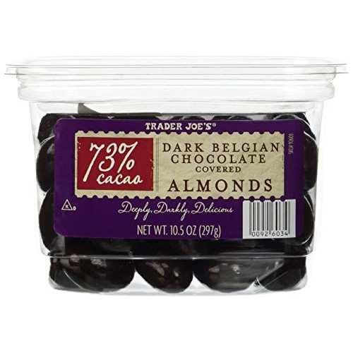 Trader Joes 73% Cocao Dark Belgian Chocolate Covered Almonds