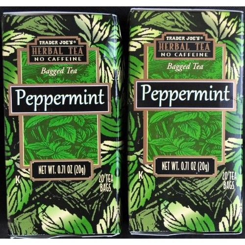 Trader Joes Peppermint Tea TWO PACK -- 40 Tea Bags -- Herbal No ...