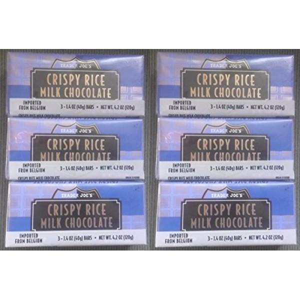NEW Trader Joes Crispy Rice Milk Chocolate Candy Bars 6 PACK 1...